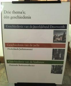 Drie themas in kasteel doorwerth, geschiedenis van de heerlijkheid van doorwerth, de jacht en bosbouw.